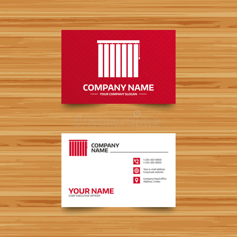 Louvers vertical sign. Window blinds jalousie. Business card template. Louvers vertical sign icon. Window blinds or jalousie symbol. Phone, globe and pointer vector illustration