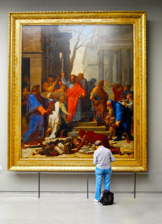 Louvre Art Gallery Book Burning Painting fotografie stock libere da diritti