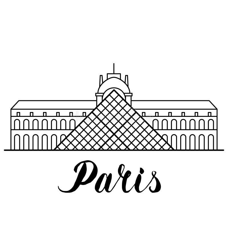 Louvre de point de repère de Paris illustration de schéma avec le lettrage tiré par la main illustration stock