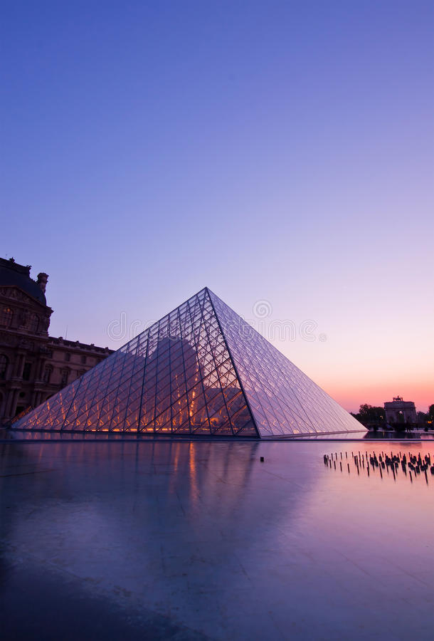 Download Louvre at dusk editorial stock photo. Image of beautiful - 37995663