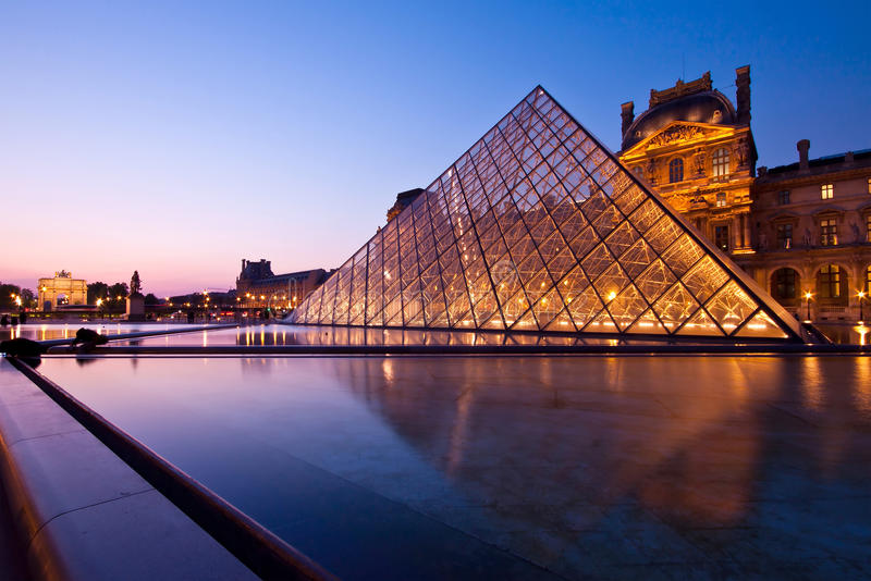 Louvre At Dusk Editorial Stock Photo