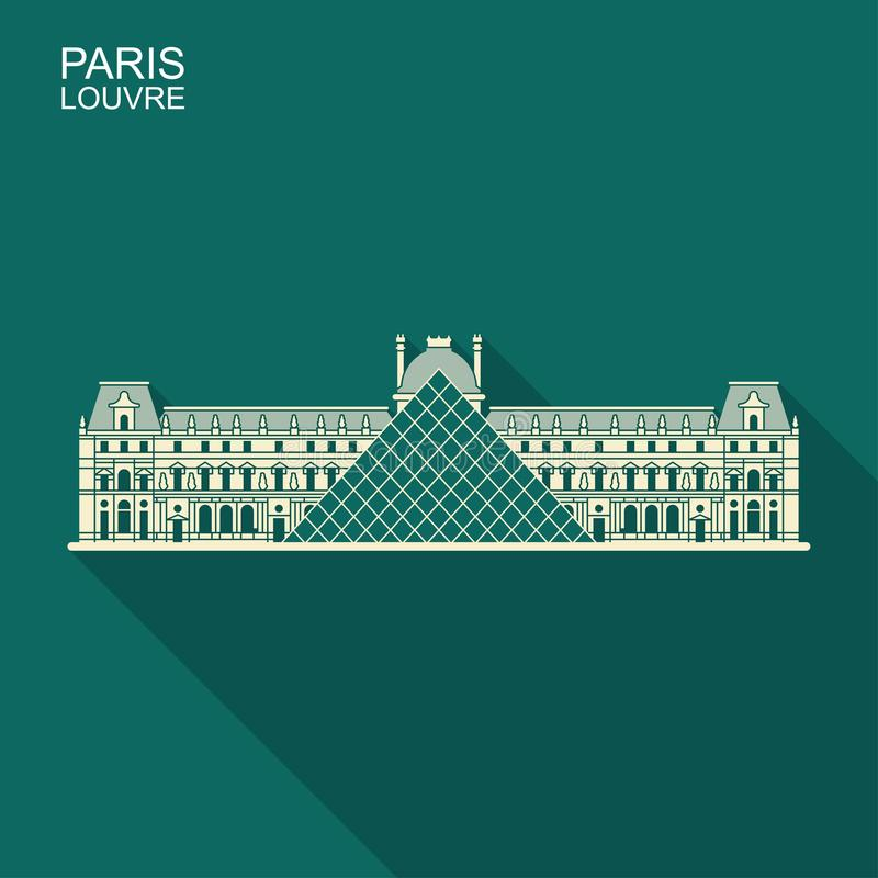 Louvre i plan symbol för Paris vektor med lång skugga stock illustrationer