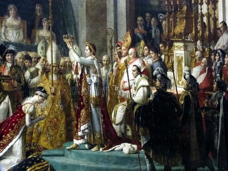 Louvre - Jacques-Louis David The Coronation av Napoleon royaltyfria foton