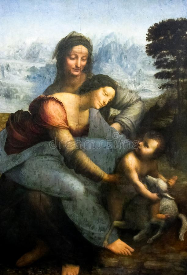 Louvre - Leonardo Da Vinci Virgin, barn och St Anne royaltyfria foton