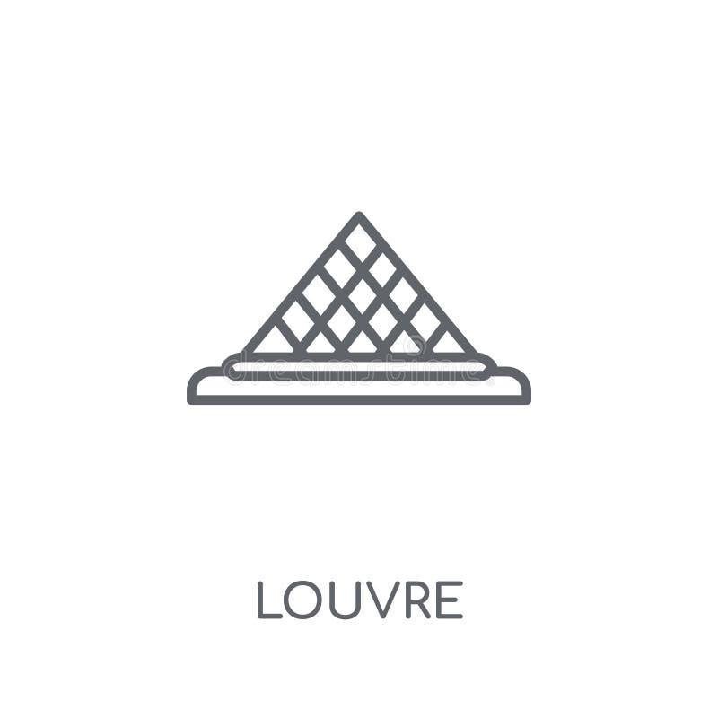 Louvre lineair pictogram Modern het embleemconcept van het overzichtslouvre op wit vector illustratie