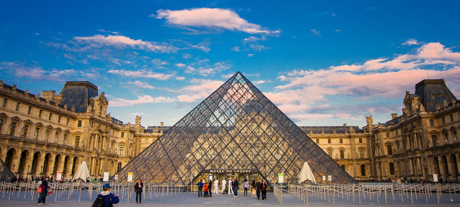 The Louvre Museum is one of the world`s largest museums stock photos