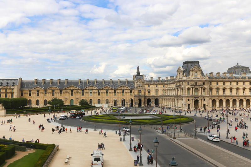 Louvre Museum in Paris. Aug. 24 2014 People go to famous Louvre museum Louvre is the most visited museum in the world royalty free stock photography