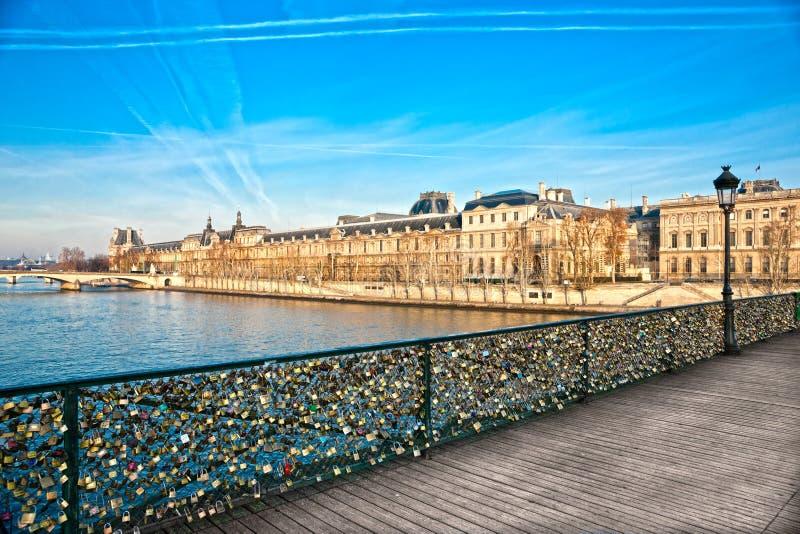 Louvre Museum And Pont Des Arts, Paris - France Stock Image