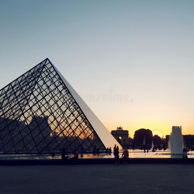 Louvre museum at the sunset, Paris, France stock image