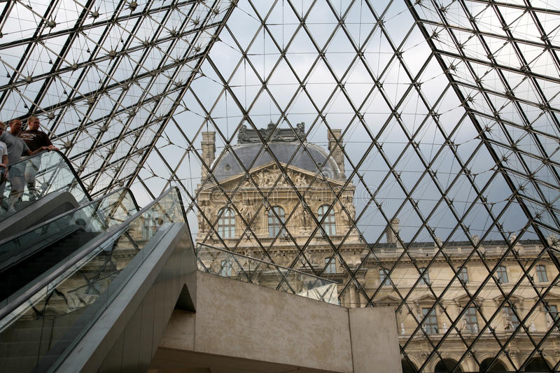 Louvre Museum Under the Pyramid stock images