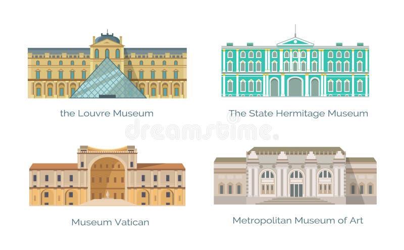 Louvre påstår eremitboning- och Vaticanenmuseumuppsättningen royaltyfri illustrationer