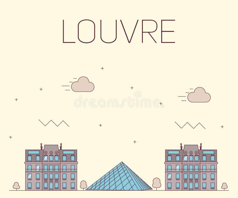 Louvre płaski projekt dla pocztówki royalty ilustracja