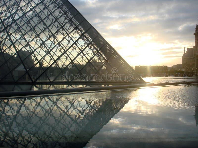 Sunset at Louvre, Paris stock photo