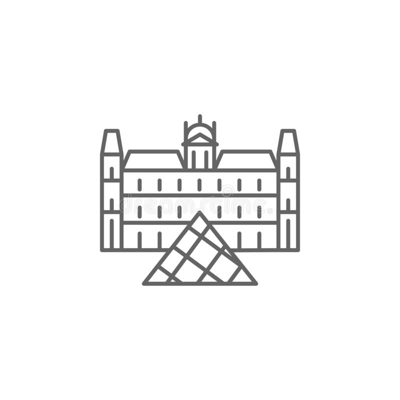 Louvre, Paris icon. Element of Paris icon. Thin line icon for website design and development, app development royalty free illustration