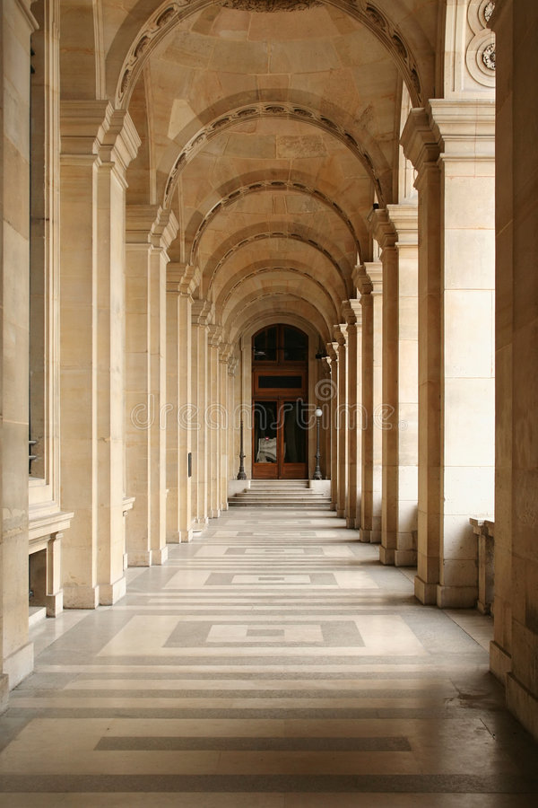 Louvre perspective royalty free stock photo