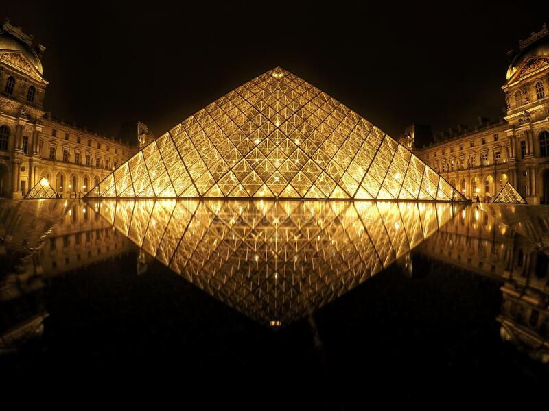 Louvre pyramid stock photo