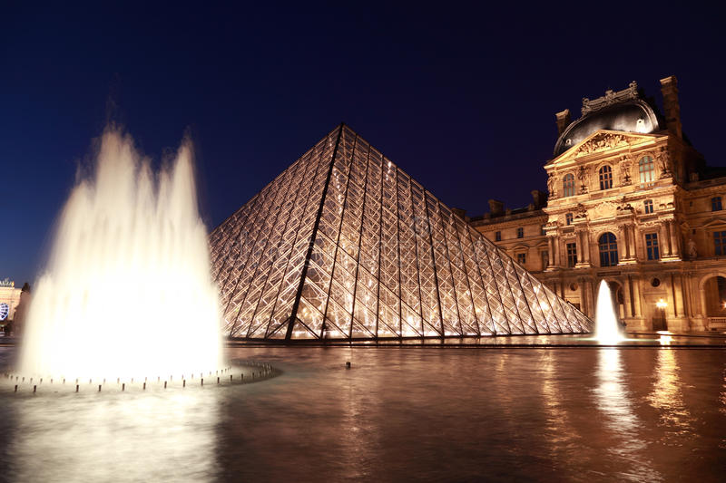Louvre Pyramid and Pavillon Rishelieu in evening stock images