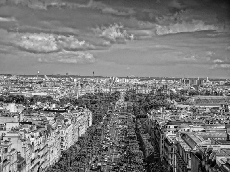 Louvre seen from the Arc de Triomphe, Paris. In Black and White stock photos