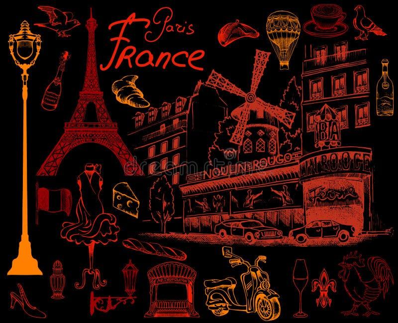 Louvre y las clases de la torre Eiffel de París ilustración del vector