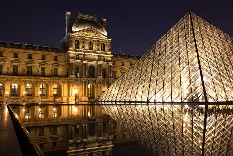 Louvremuseum och dess pyramid arkivfoto