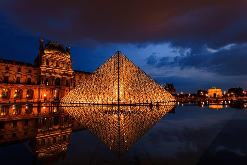 Louvremuseum på skymning arkivfoton