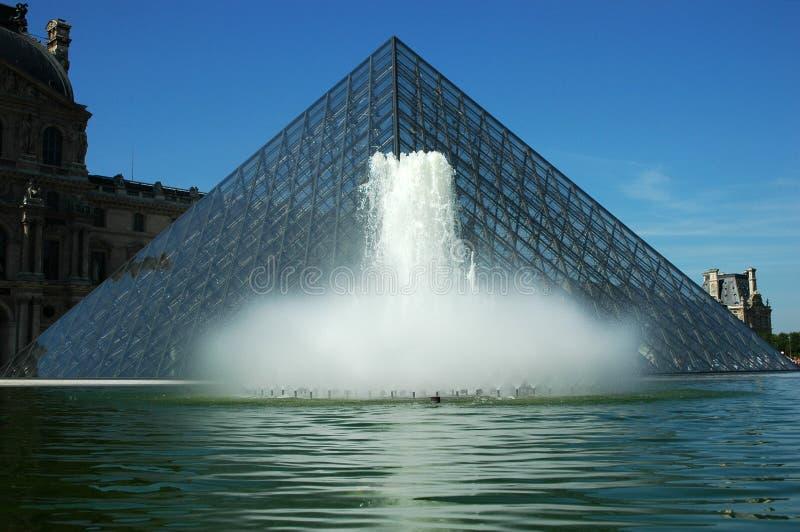 Louvrepyramid och springbrunnen arkivbilder