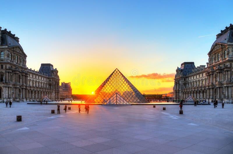 Louvresolnedgång arkivbild