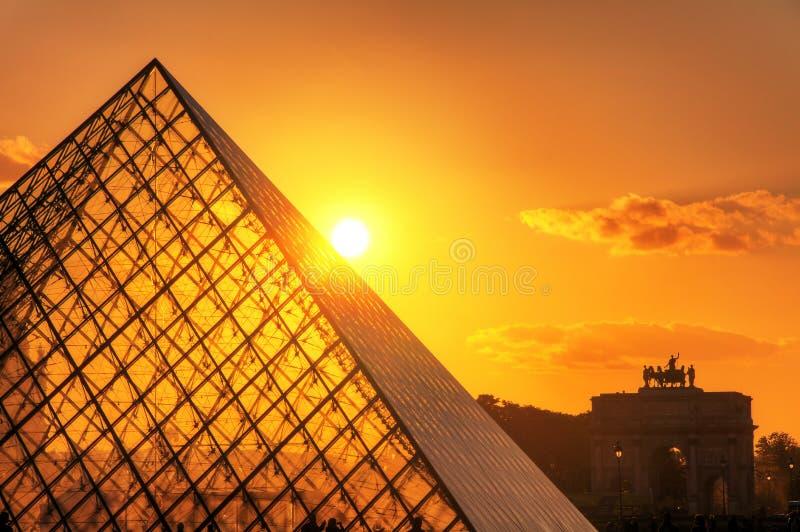 Louvresolnedgångsolsken royaltyfria foton