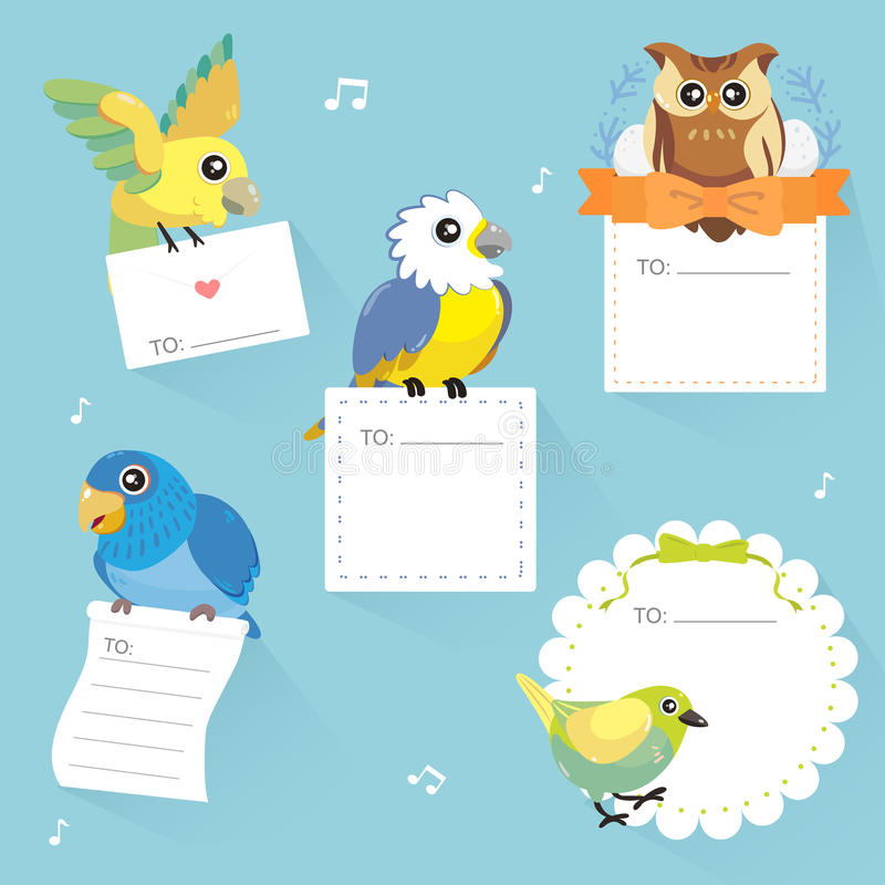 Lovable birds memo collection. In flat style vector illustration