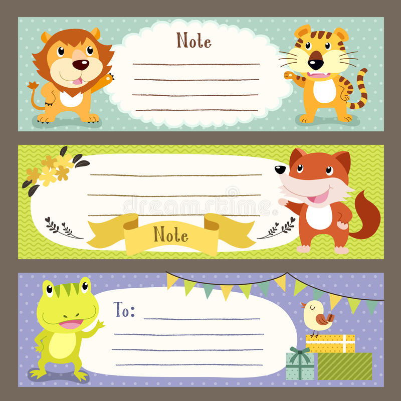 Lovable diverse animals memo paper. Collection set stock illustration