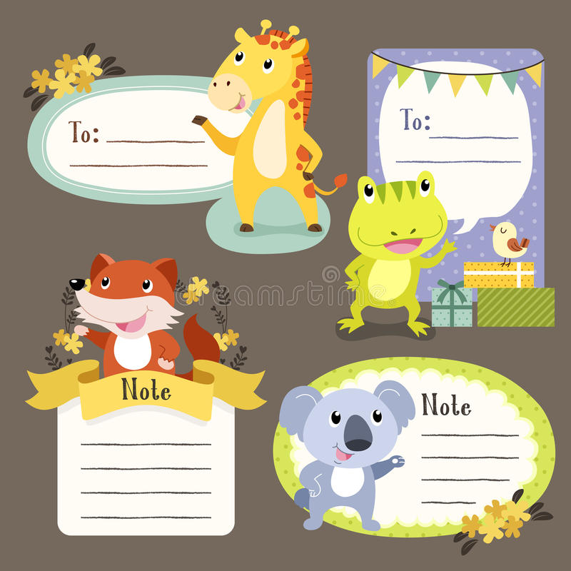Lovable diverse animals memo paper. Collection set royalty free illustration