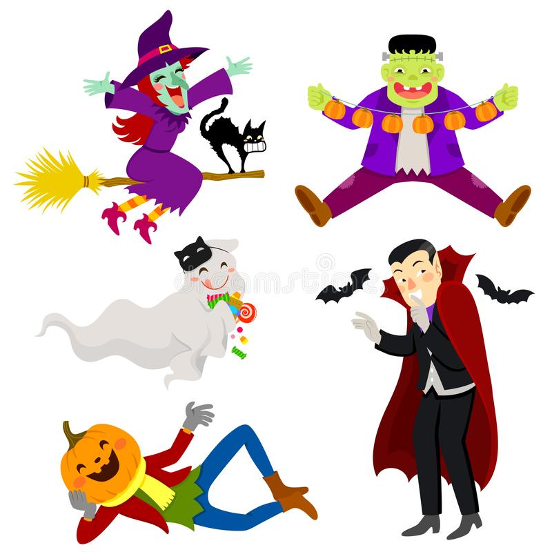 Lovable Halloween Characters. Set of funny and friendly-looking Halloween cartoon characters vector illustration
