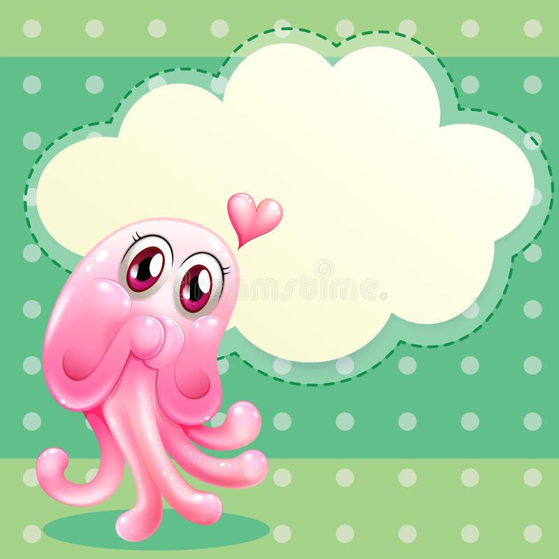 A lovable pink monster with an empty cloud template. Illustration of a lovable pink monster with an empty cloud template stock illustration