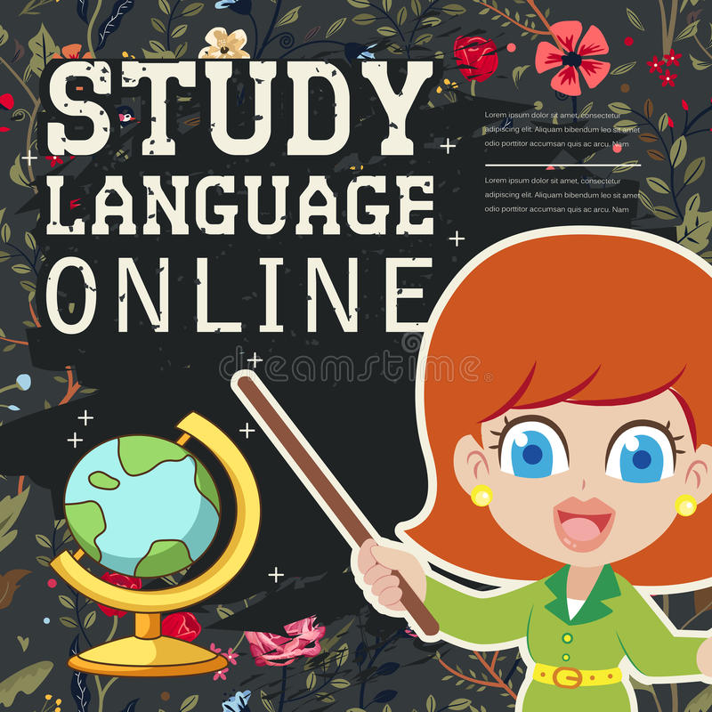 Lovable study language online banner. With chalkboard element stock illustration