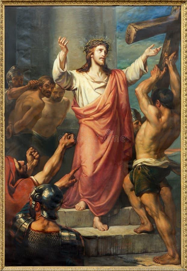 Lovaina - Jesus leva sua cruz. Pinte a igreja do St. Michaels do formulário (Michelskerk). do centavo 19. imagem de stock