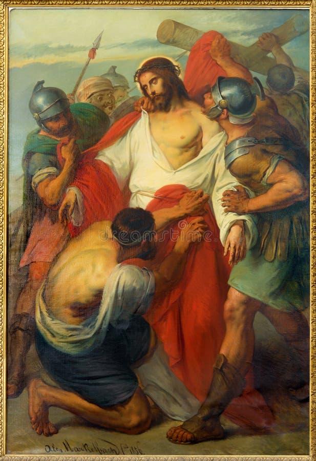 Lovaina - Jesus Stripped de sua igreja do St. Michaels do formulário de Garments.Paint (Michelskerk) do ano 1856 por Alen Markelbi foto de stock