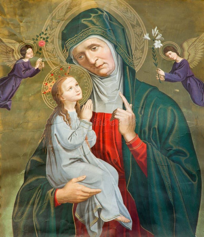 Lovaina - pintura de St Ann com a Mary pequena na bandeira velha. do centavo 19. forme a igreja do St. Michaels (Michelskerk) fotografia de stock