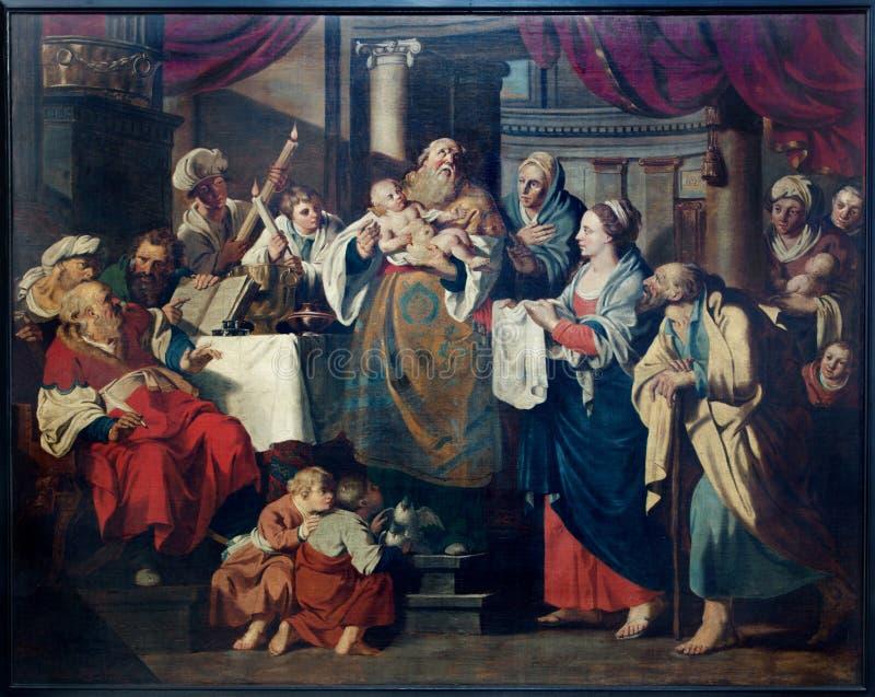 Lovaina - presentación de Jesús en la escena del templo en la catedral gótica de St Peters fotos de archivo libres de regalías