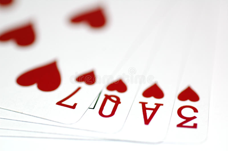 Love. The word Love formed using poker cards (Seven, Queen, Ace, Three stock photos