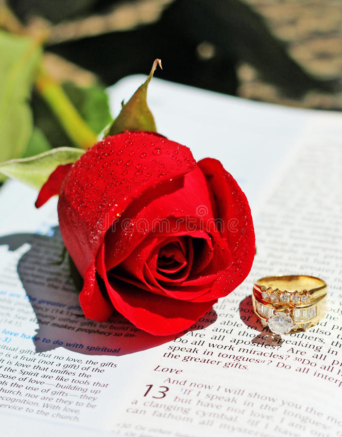 Love. Bright red rose and a yellow gold ring with diamonds on a Bible opened to 1 Corinthians 13, the love chapter of the New Testament royalty free stock photo