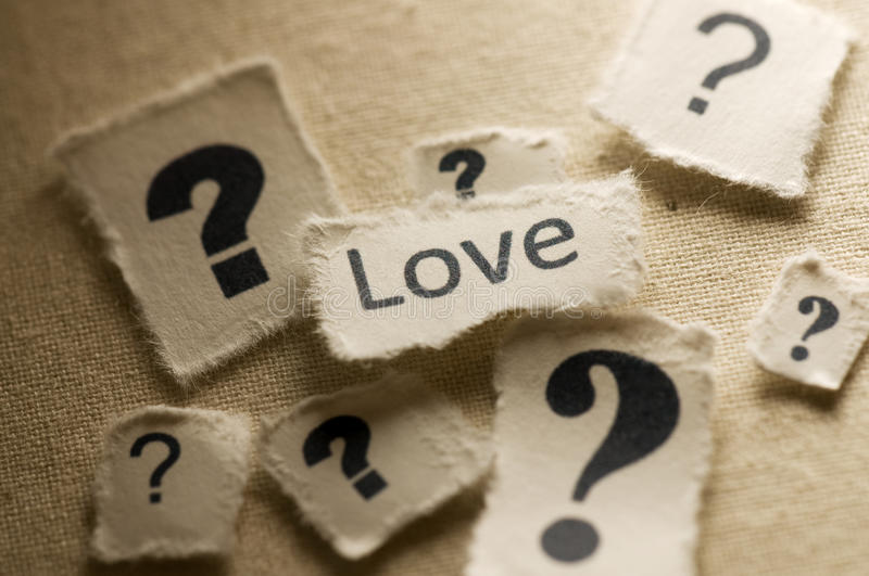 Love. Picture of a word love with question marks around it royalty free stock photos