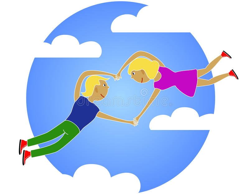 Love. A fellow and girl embarked on hands fly in clouds vector illustration