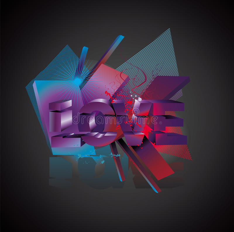 Love 3d abstract text vector illustration