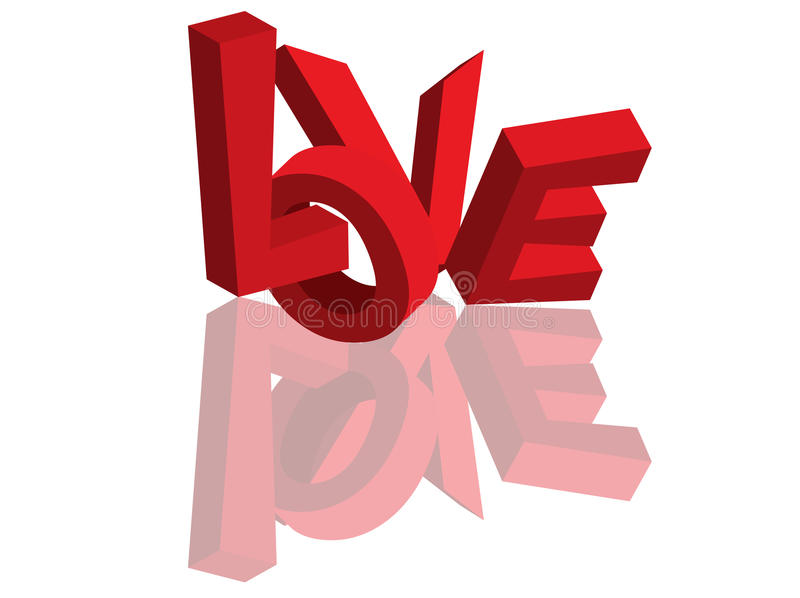 Love 3d text #1. Love 3d text with reflection isolated stock illustration