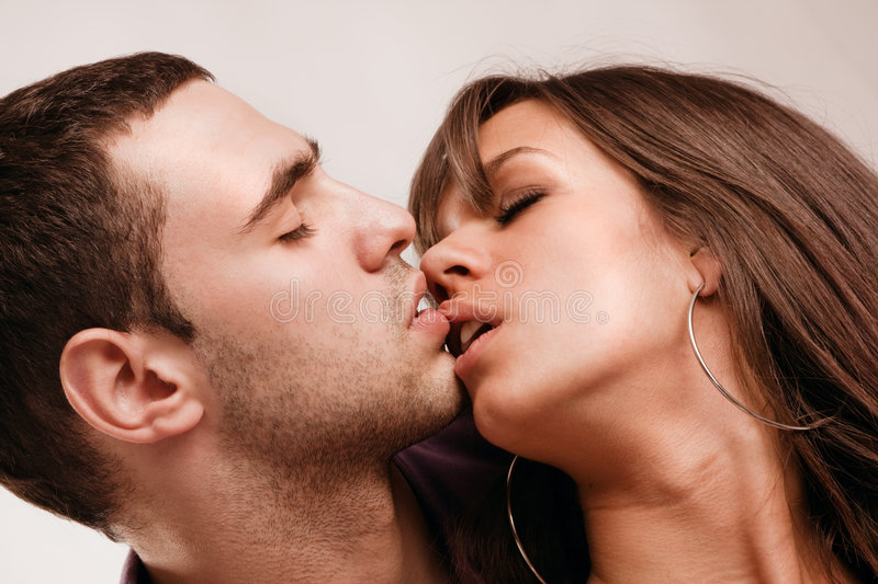 Love. Young couple in love, close up, studio shot royalty free stock photos