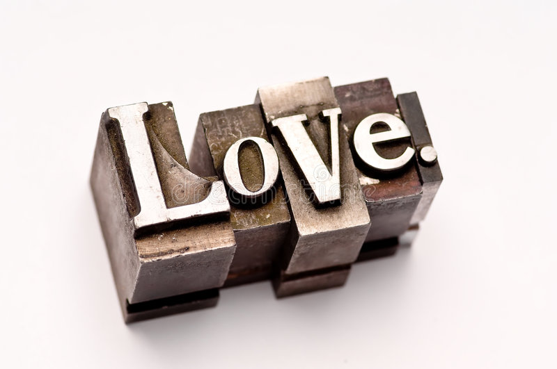 Love. The word Love photographed using vintage letterpress type stock photo