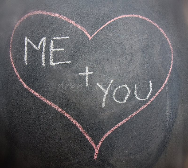 Love. Me and you in love heart on chalk blackboard stock images