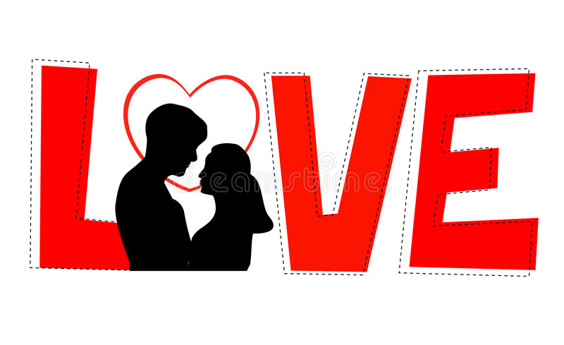 Love. Elegant red love letters [word] isolated on white background. for valentines day greeting cards stock illustration
