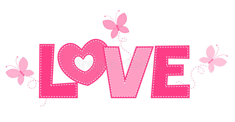 Love. Cute pink love word with butterflies isolated on white background vector illustration