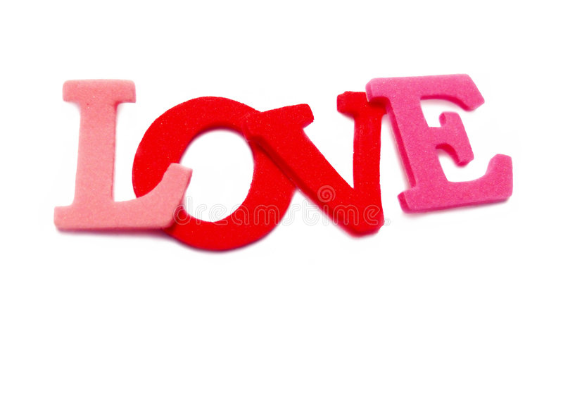 Love. Letters spelling love, isolated on white royalty free stock photos
